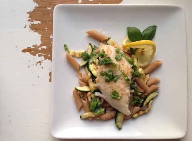 Pasta with fish, courgette and lemon basil dressing